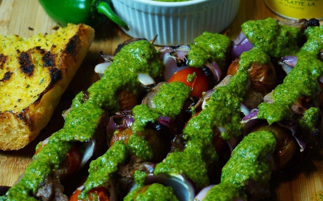 Garlic & Lime Beef Kabobs With A Smokey Chimichurri Sauce